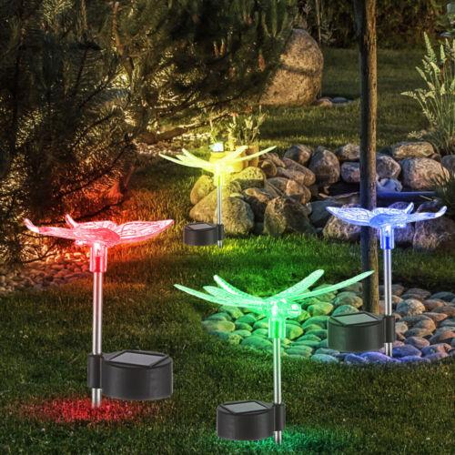 4x Solar LED Steck Leuchte Lampe Schmetterling Farbwechsler Garten Big Light