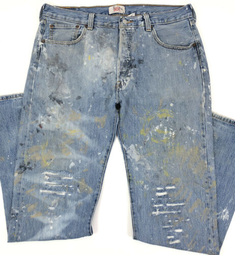 vtg 90s LEVI'S 501 Faded Work Worn Button Fly Jea… - image 1