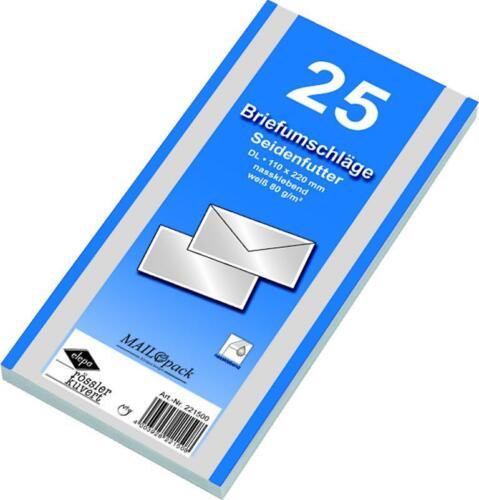 25 Briefumschläge Din lang mit Seidenfutter