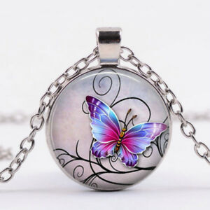 Vintage-Mystical-Butterfly-Pendant-Cabochon-Glass-Chain-Necklace-Silver-Jewelry