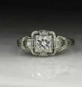 Antique-Art-Deco-Edwardian-Engagement-Ring-14K-White-Gold-2-95-Ct-Round-Diamond