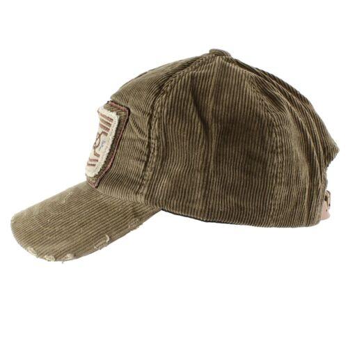 Corduroy Vintage Cotton Army Baseball Cap Casual Daily Hat Women Men