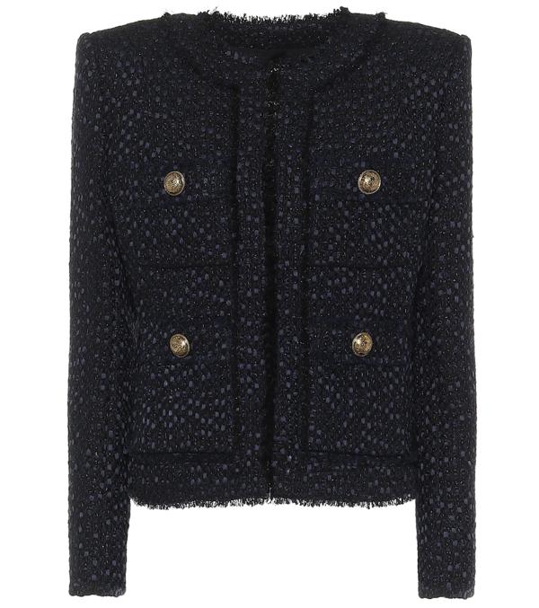NEW Balmain Navy Collarless Tweed Jacket Blazer