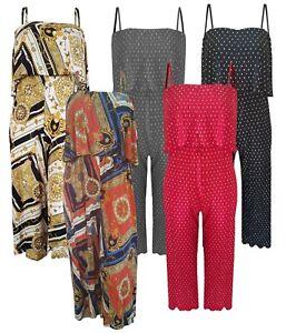 Ladies Plus Size Pleated Chiffon Playsuit Printed Strap Floral Bardot Polka Dot
