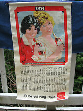 VINTAGE 1974 Coca Cola Canvas Calendar  -Reproduction Of A 1912 Calendar Art!