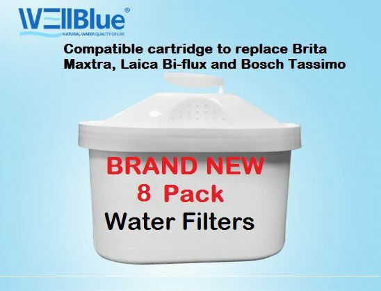 8 Pack Water Filter Cartridges Compatible Fits BRITA MAXTRA & Laica Bi-Flux