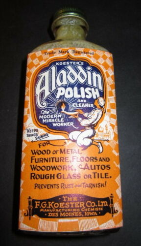 Old 1920/'s ALADDIN POLISH Advertising BOTTLE w// LABEL FG Koester Des Moines IOWA
