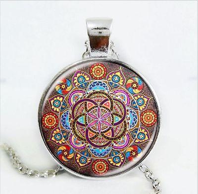 Om Mandala pendant necklace ~ 304 Stainless Steel Silver ~ Hippie ~ Goa ~ Boho ~ Tibet ~ Ethno ~ Nature ~ Esoteric ~ Ethnic ~ Indian