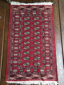 Details About Vintage Red Wool Rug 3 X 5 Traditional Afghan Bokhara Afghani Fringed Worn Areas
