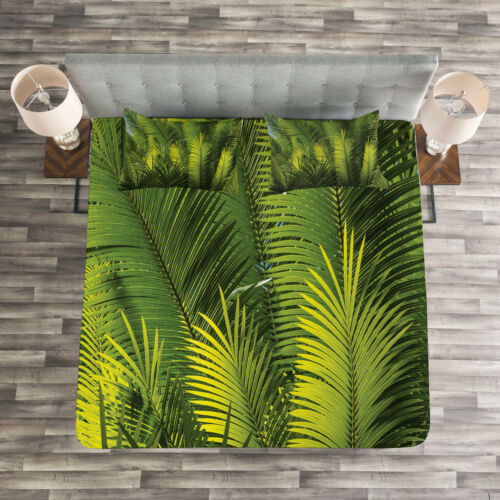 Palm Trees Exotic Print Tropical Quilted Bedspread /& Pillow Shams Set