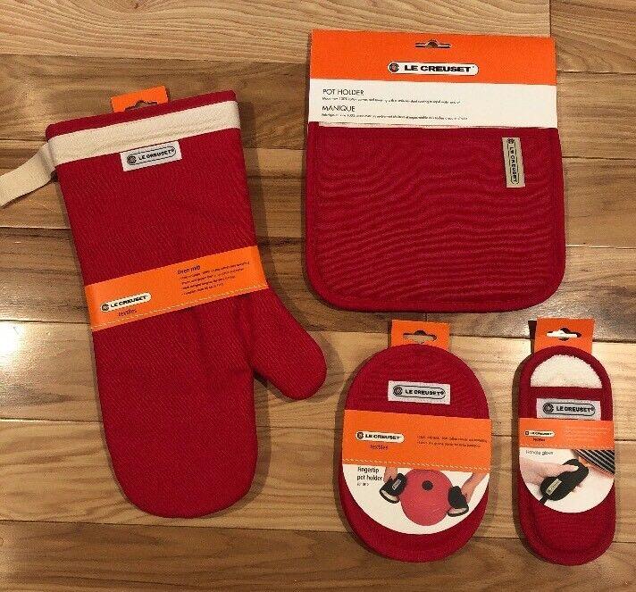 Lot de 4 cerise Tissu LE CREUSET textiles Four Mitt Pot titulaires et poignée gant