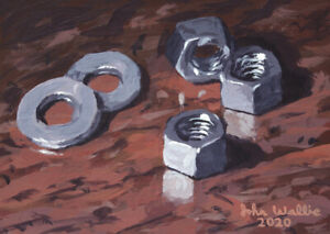 Original Still Life Painting of Nuts & Washers - (5 x 7 inch) by John Wallie