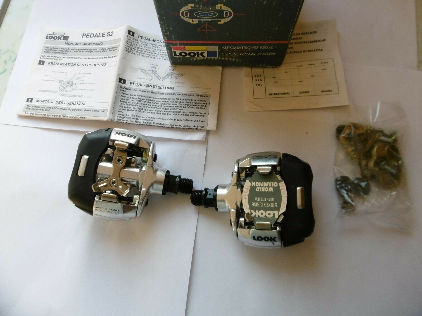 Look S2X   5 MTB ATB Pedals With Cleats Team Ritchey Made In France New In Box