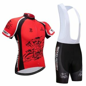 Men s Bicycle Wear Kit Red Cycling Jersey and Padded Bike Shorts ... e6d1c1f00