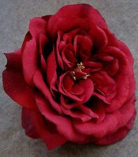 """5 1/2"""" Red Rose Silk Flower Hair Clip,Wedding,Prom,Dance,Rockabilly,Bridal"""