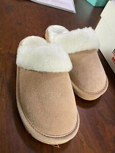 MINNETONKA Wadena Leather Moccasin Slipper Womens 5M Kids 3M Taupe/White 1 PAIR