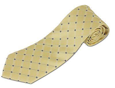 Extra Long 100% Silk Yellow Diamond Pattern Tie