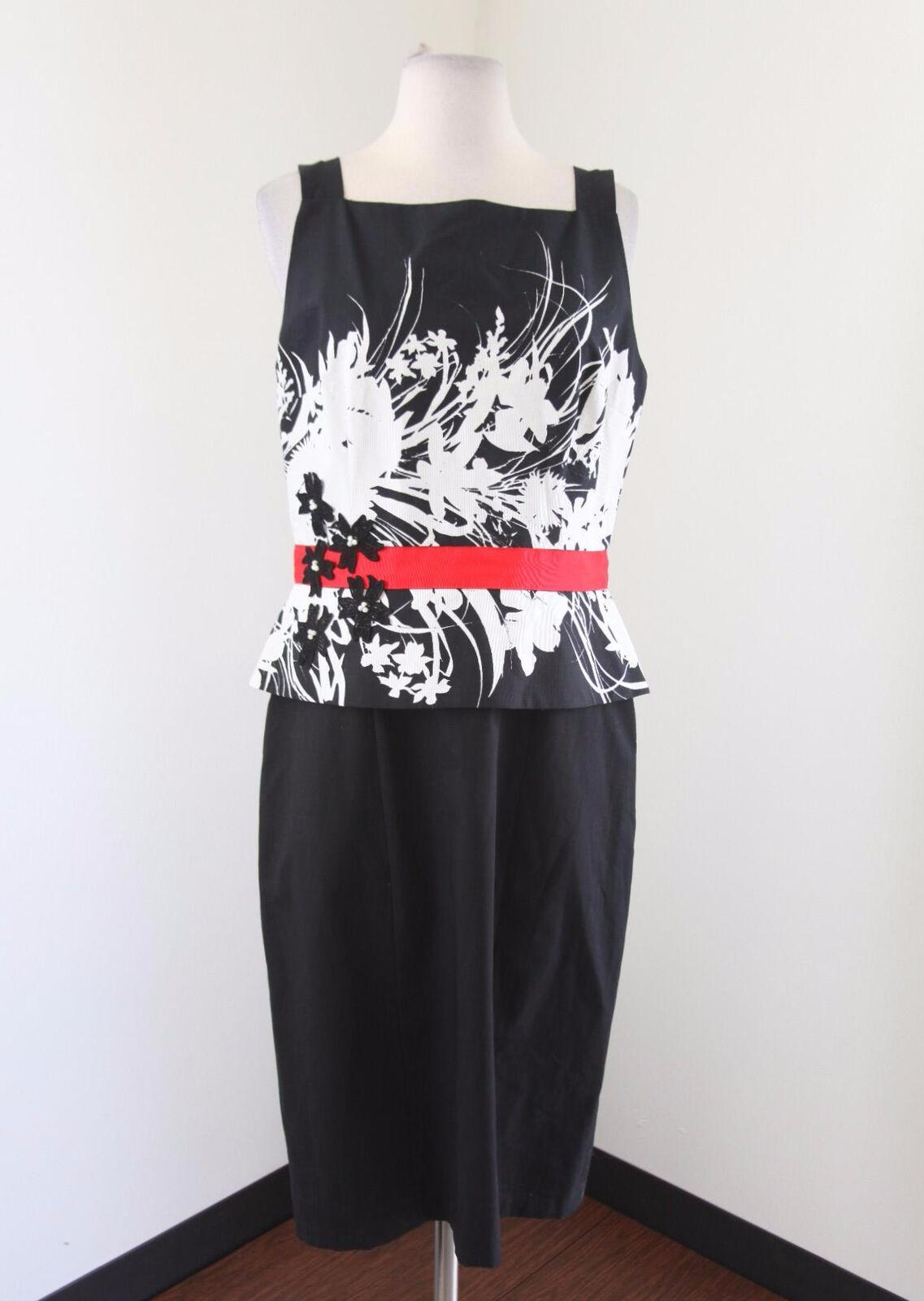 NWT  David Meister schwarz Weiß Floral Print Peplum Dress Größe 10 Career