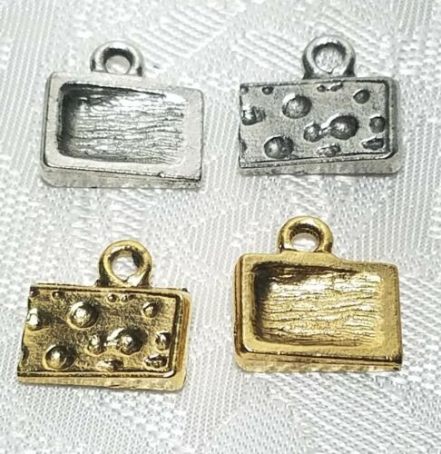 12mm L x 12mm W x 4mm D CHEESE WEDGE FINE PEWTER PENDANT CHARM