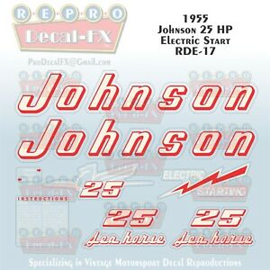 1981 Johnson 25 HP Electric Start Sea-Horse Outboard Reproduction 9 Piece Decals