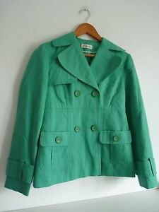 Ladies-Lovely-Green-George-Waist-Length-Summer-Button-Mac-Size-8-Vgc