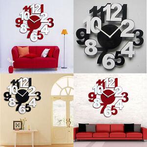 Luxury Large Diy Wall Clock 3d Mirror Surface Sticker Home Decor Ebay
