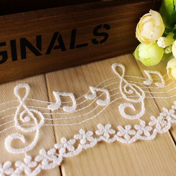 """Lace Trim White Black Lace Fabric Musical Notes Lace Wedding 3.94"""" width 2 yards"""