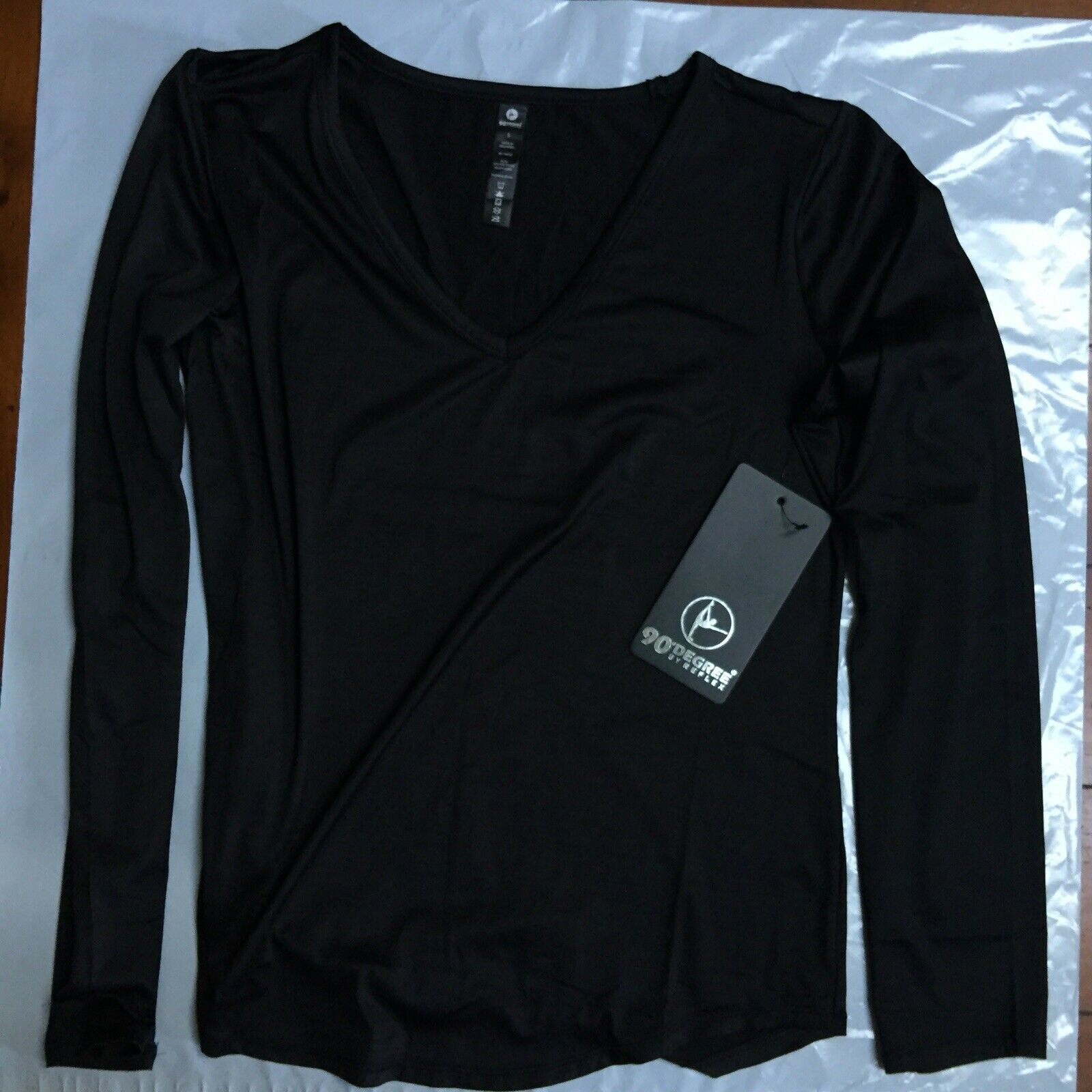 90 degree by reflex Athletic black long sleeve size small top shirt NWT