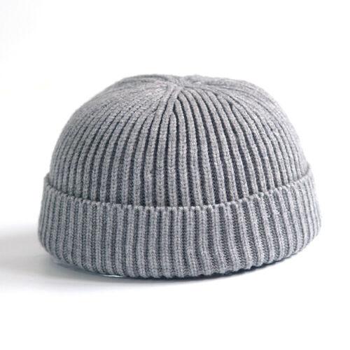 Men Women Beanie Hat Warm Ribbed Winter Ski Fisherman Docker Knitted Hat