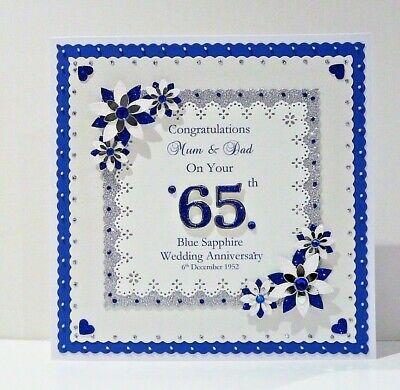 Personalised 45th//65th Sapphire  Anniversary Card Wife//Husband//MumDad Lge