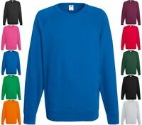 FRUIT OF THE LOOM Lightweight Raglan Sweat Shirt langarm Freizeit-S M L XL XXL-2