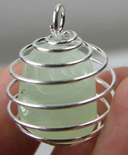 Africa 100/% Natural Tumbled Rough Prehnite Crystal In Spiral Cage Pendant