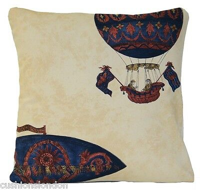 Hot Air Baloons Race Cushion Cover Beige Pillow Case Chatsworth Print Monkwell