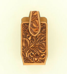 MEDIUM-Leather-PHONE-HOLSTER-Rotating-Clip-Western-Brown-Leather-0689108