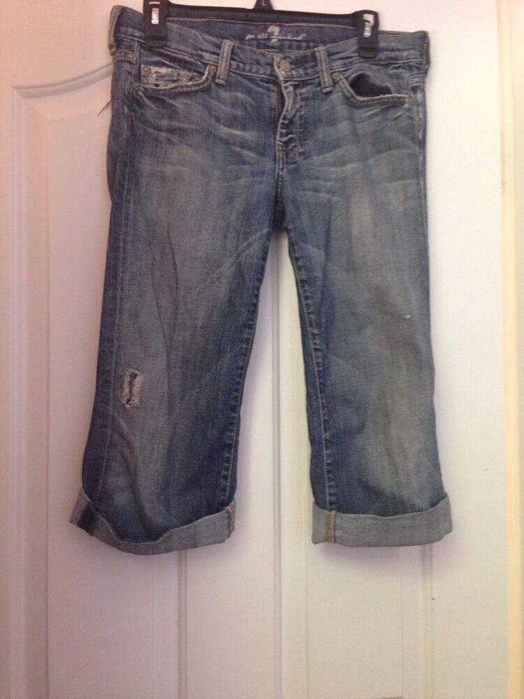7 FOR ALL MANKIND bluee Cropped Jeans Size 28