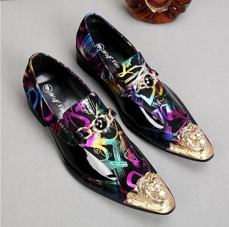 Punk Uomo's Korea Loafers Slip On Pelle Metal Pointy Toe Formal Oxfords Shoes