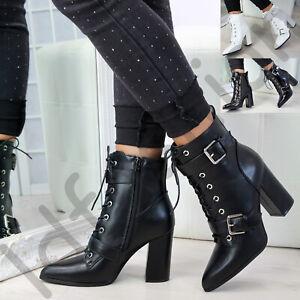 Nuevo-Para-Mujer-Damas-Hebilla-Botas-al-Tobillo-acordonadas-Cremallera-Zapatos-Taco-Alto-de-Bloque