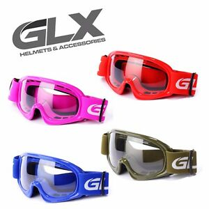 GLX Youth Goggles ATV Dirt Bike Motocross MX Motorcycle Kids Boys Girls + Pouch