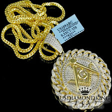 "2"" GENUINE REAL .33CTW YELLOW GOLD FINISH DIAMOND G MASON CHARM CHAIN NECKLACE"