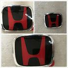3PCS Red HONDA Civic 2DR COUPE JDM H Emblem Grille+trunk+Steering Wheel Badges