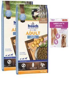 2x15kg Aliments pour chiens, pommes de terre et poissons Bosch adultes, oreilles de lapin 80g