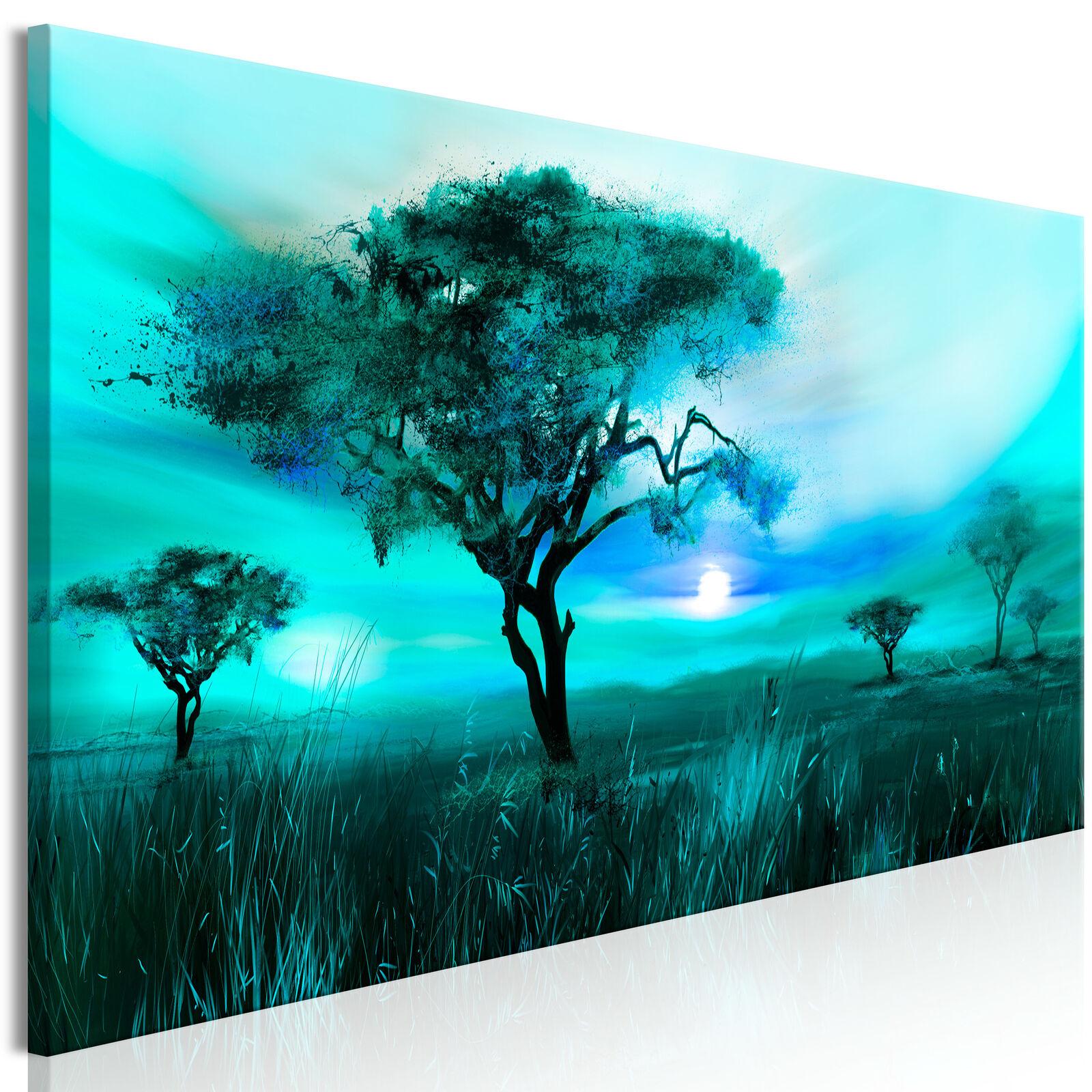 LEINWAND BILDER Wald Baum Abstrakt Akustikbild WANDBILDER Kunstdruck grün