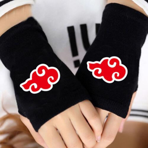 Anime Naruto Red Cloud Half Finger Gloves Men Women Mitten Cosplay Costume Glove
