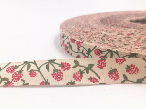 5-100Y 15mm Printed flower Cotton Ribbon Handmade Present Package sewing Craft