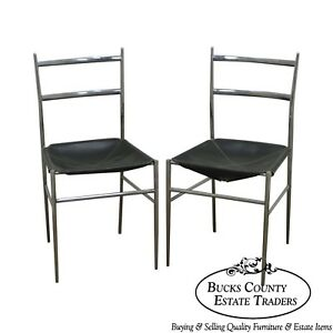 Gio-Ponti-Mid-Century-Modern-Chrome-amp-Leather-034-Superleggers-034-Pair-of-Side-Chairs