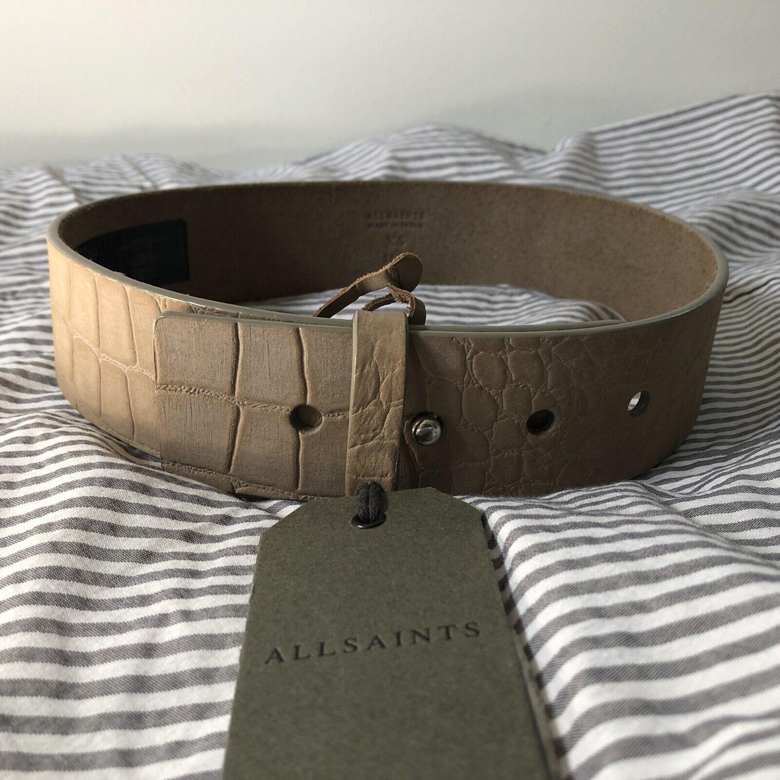 **NEW!! Size XS ALLSAINTS Mimosa Croco Nubuck Leather Waist Belt Light Grey