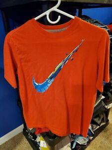 Boy-039-s-NIKE-Orange-Short-Sleeve-T-Shirt-With-Logo-On-Front-Size-Youth-XL