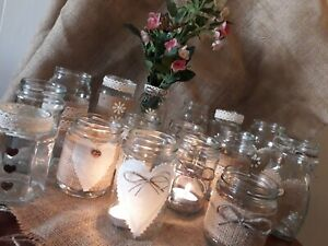 6-Rustic-Vintage-Wedding-Centerpieces-Decorated-Jars-Ideal-Flowers-or-Tealights