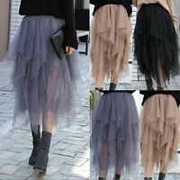 Fashion Women Casual  Layers Chiffon Pleated Long Tutu Dress Elastic Waist Skirt