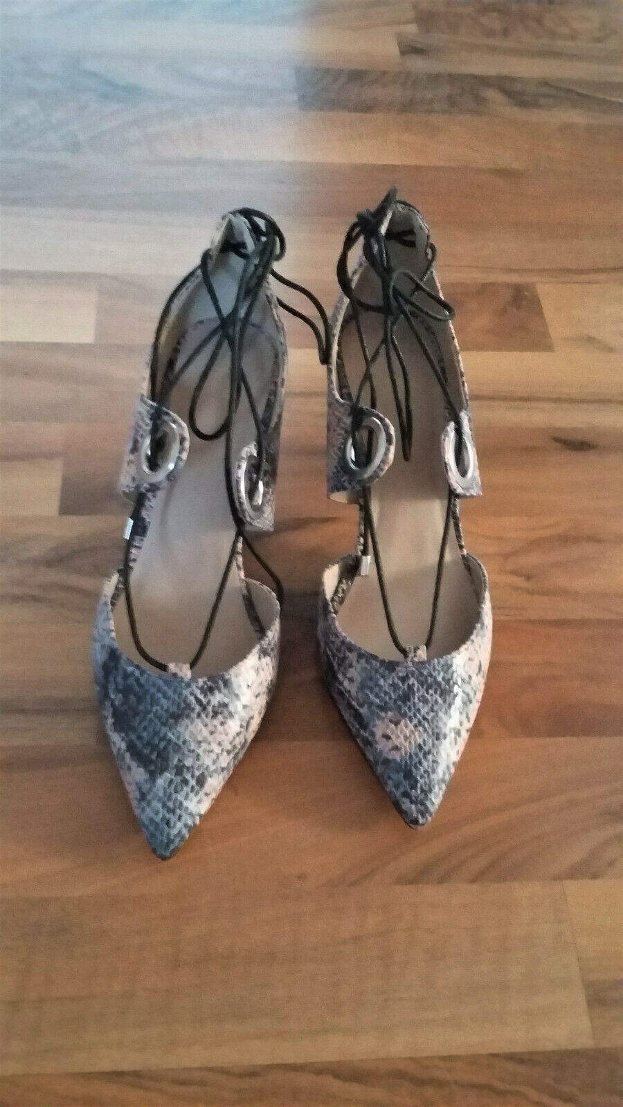 Asos grey beige snake pointed lace up shoes UK 4 EUR 37 BNWT